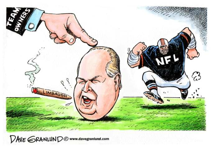 Rush Limbaugh and NFL by Dave Granlund, 2009 Politicalcartoons.com
