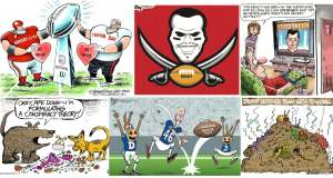 Super Bowl Sunday Collection of Political Cartoons on CartoonState.com