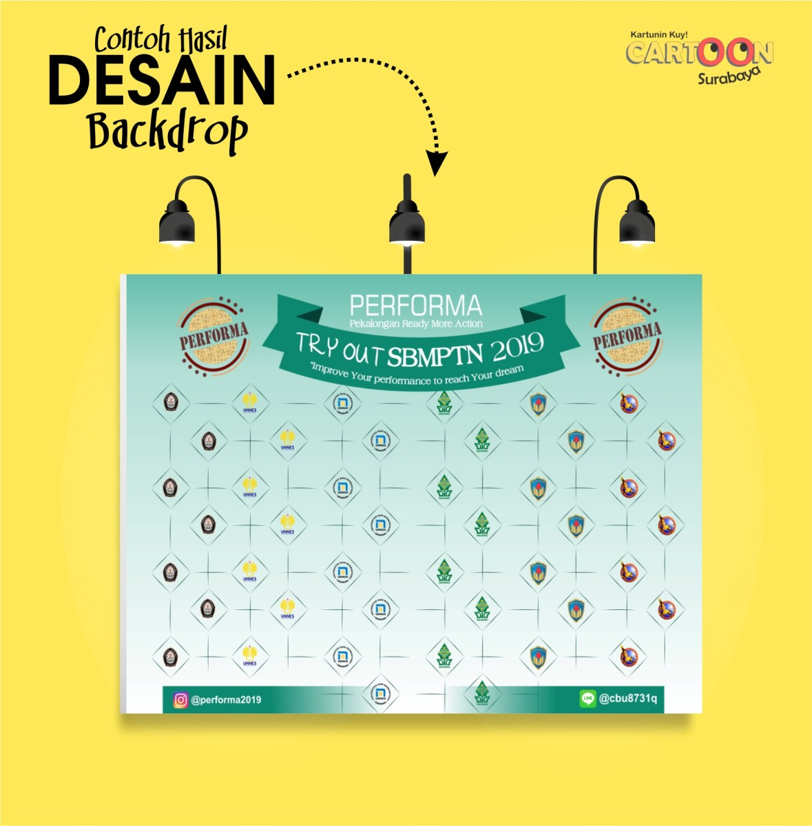 Desain Karikatur: Contoh Hasil Desain Backdrop Photobooth Event TRY OUT