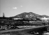 Mount Maurice stands above the road to Red Lodge, Montana, 1953.
