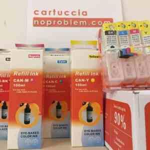 4 CARTUCCE RICARICABILI PER HP 364 + 400ML INCHIOSTRO