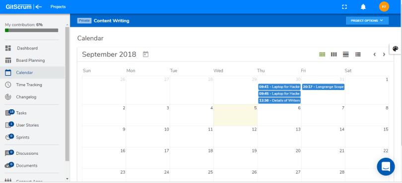 calendar in gitscrum