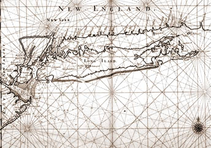 Map from 16741 showing Ram Island (not Cartwright Island) below Gardiner's Island.