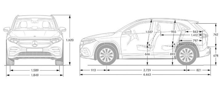 Mercedes-Benz EQA 250 - Dimensi