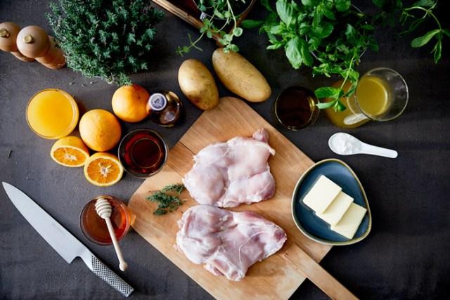 φιλετο κοτόπουλου με σάλτσα μελι, πορτοκάλι Metaxa