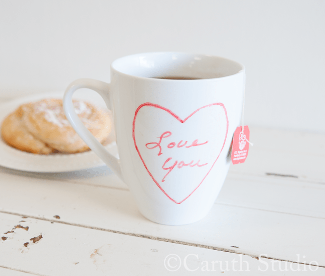 love heart painted on ceramic tea cup