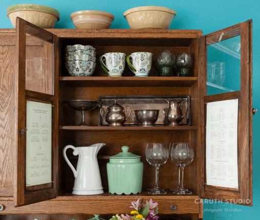 Vintage wooden cabinet interior