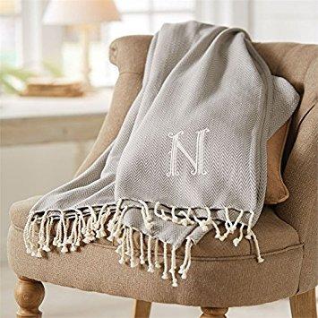 Herringbone Initial T Throw Blanket with Fringe