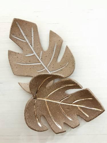 Monstera Leaf Dish Incense Burner Stoneware