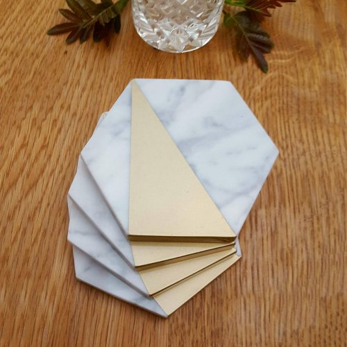 Marble and Gold, Modern Coasters Set