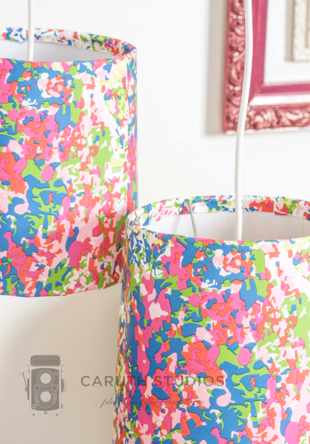 Detail of wallpaper covered lampshades