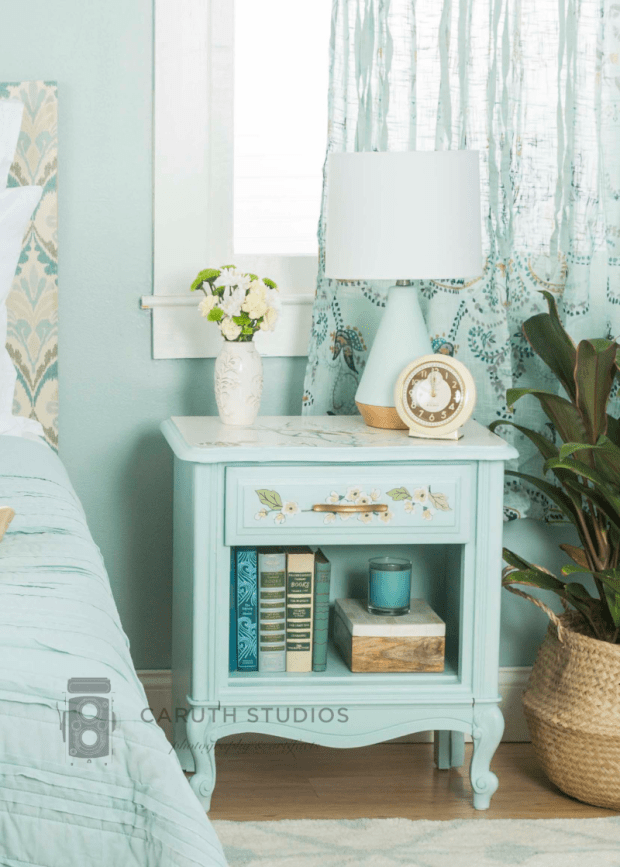 Wallpapered nightstand after
