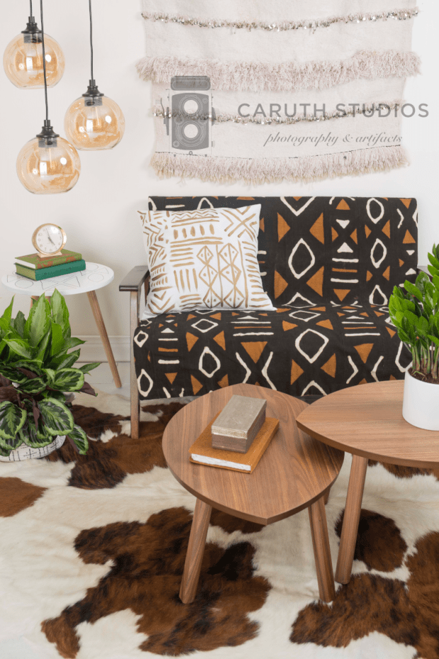 Mudcloth living room