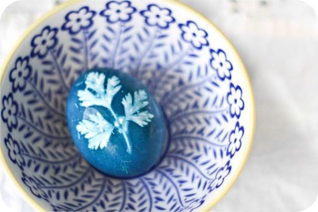 Herb stenciled egg