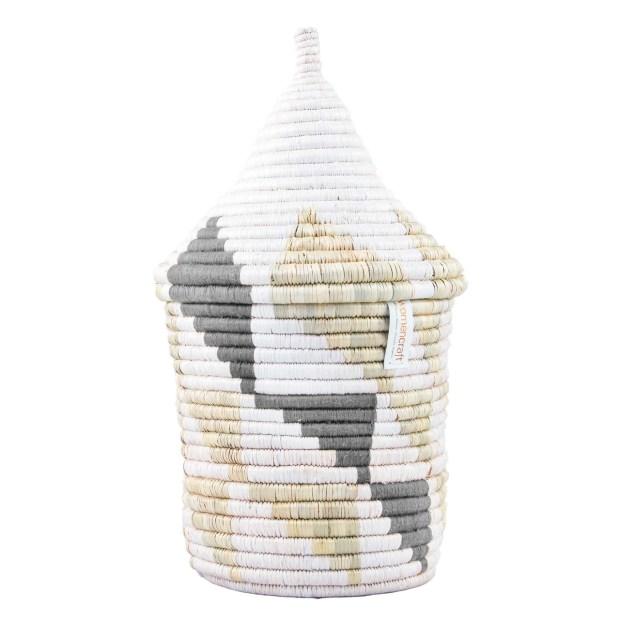 Inyabu Grey Triangles Refugee Basket - Medium
