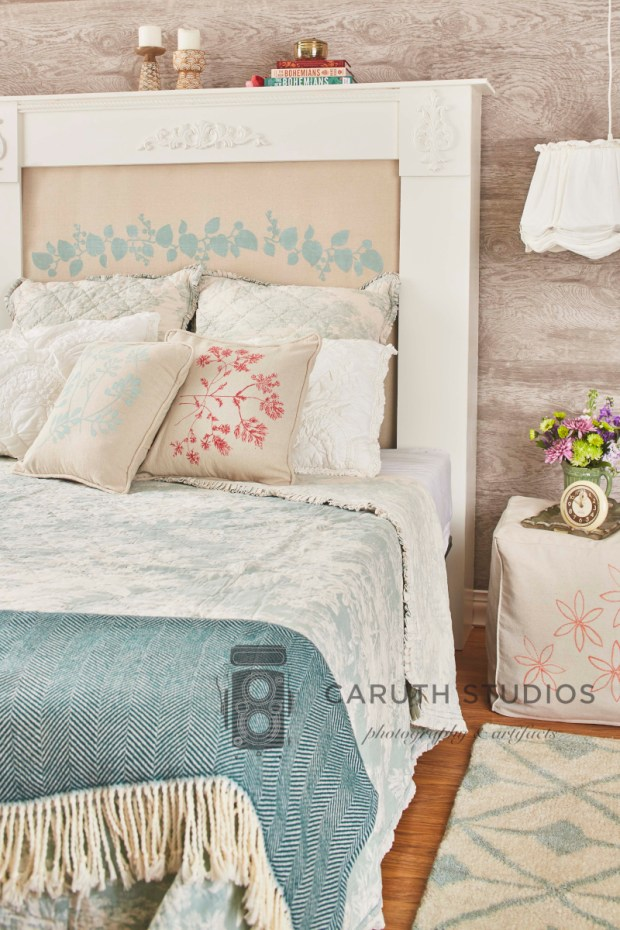Drop cloth bedroom overall