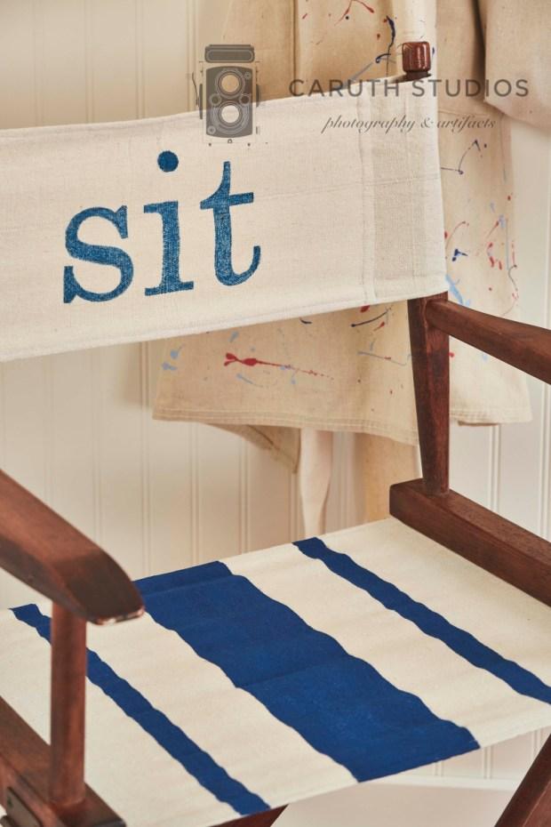 Reassembled drop cloth chair