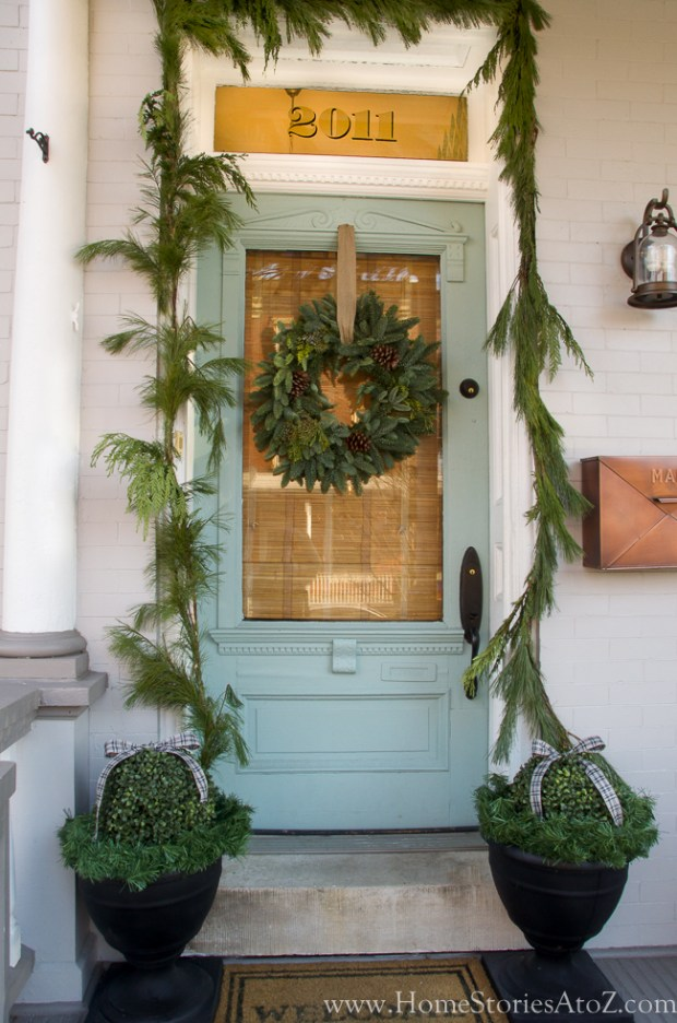 Doorway decorated for christmas