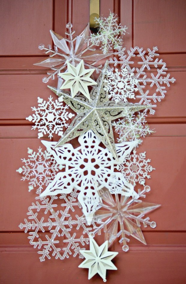 layered snowflake cluster on a door