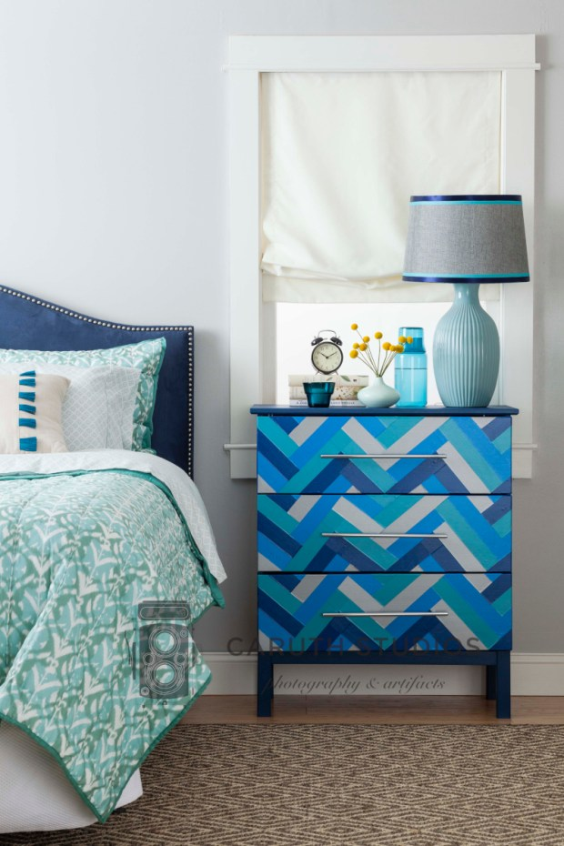 Bedroom with blue chevron dresser