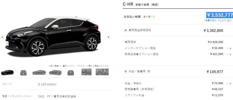 C-HRハイブリッド【G】の乗り出し価格は350万円以内を。見積もりやってみた!おすすめオプション&アクセサリーを画像で紹介!