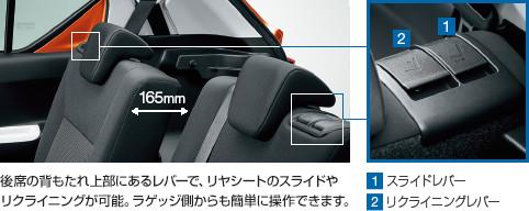 新型イグニス内装後部座席リクライニング