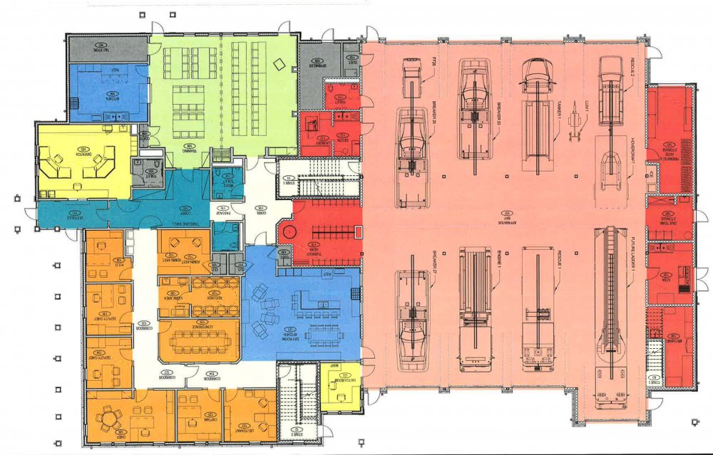 Fire station floor plans interior and exterior for Fire plans