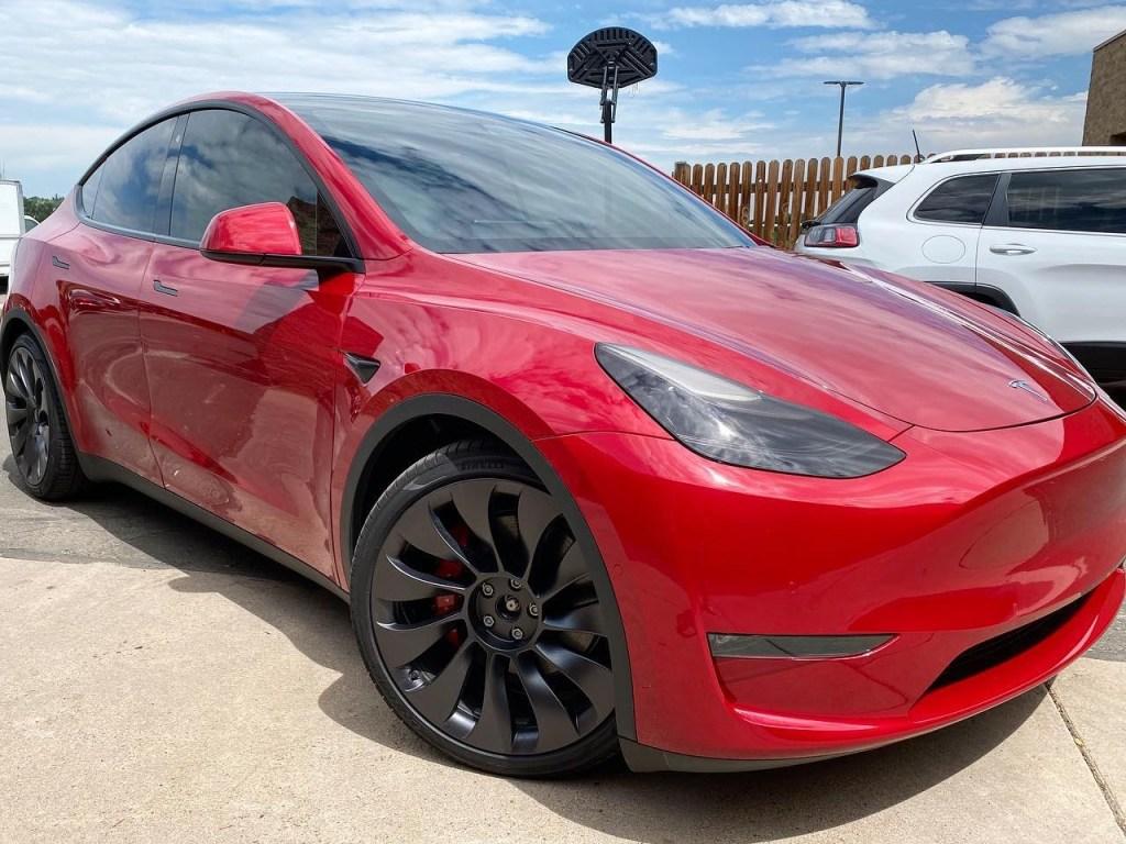red Tesla Model Y ceramic window tint