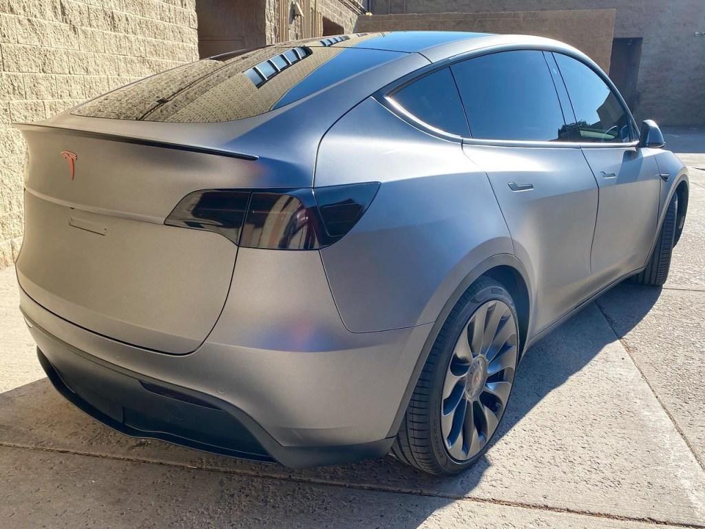 grey Tesla Model Y ceramic window tint back view