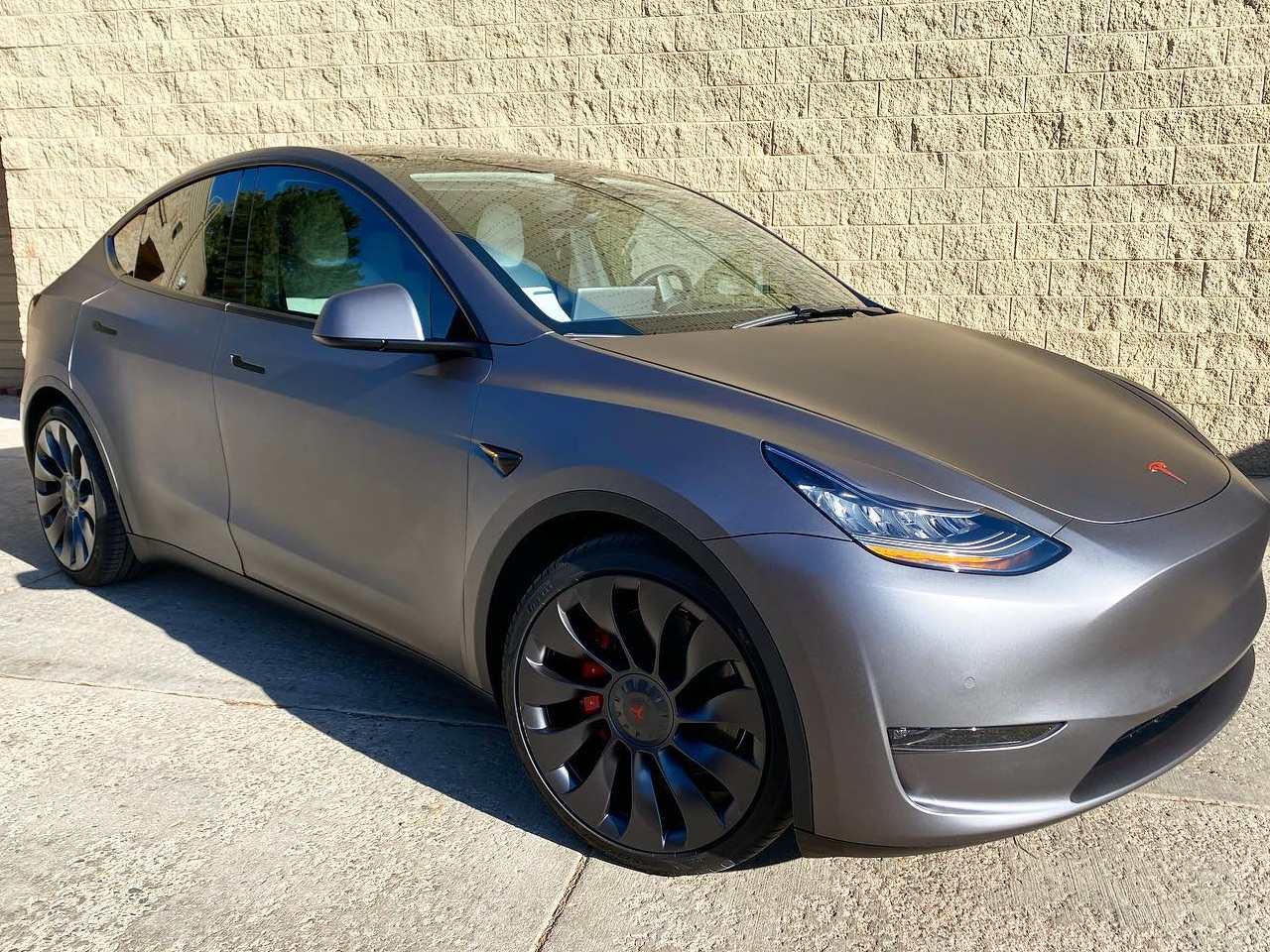 grey Tesla Model Y ceramic window tint front view