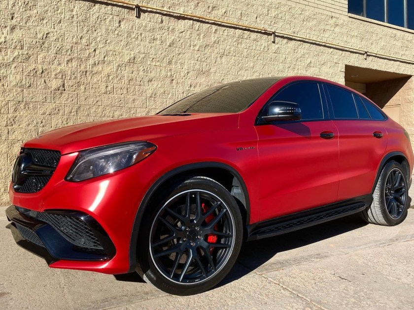 Mercedes GLE 63S AMG satin red window tint front side view