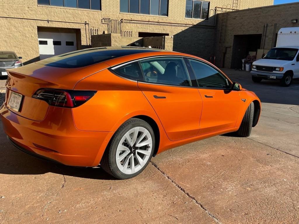 Tesla Model 3 Gloss Liquid Llumar window tint side view