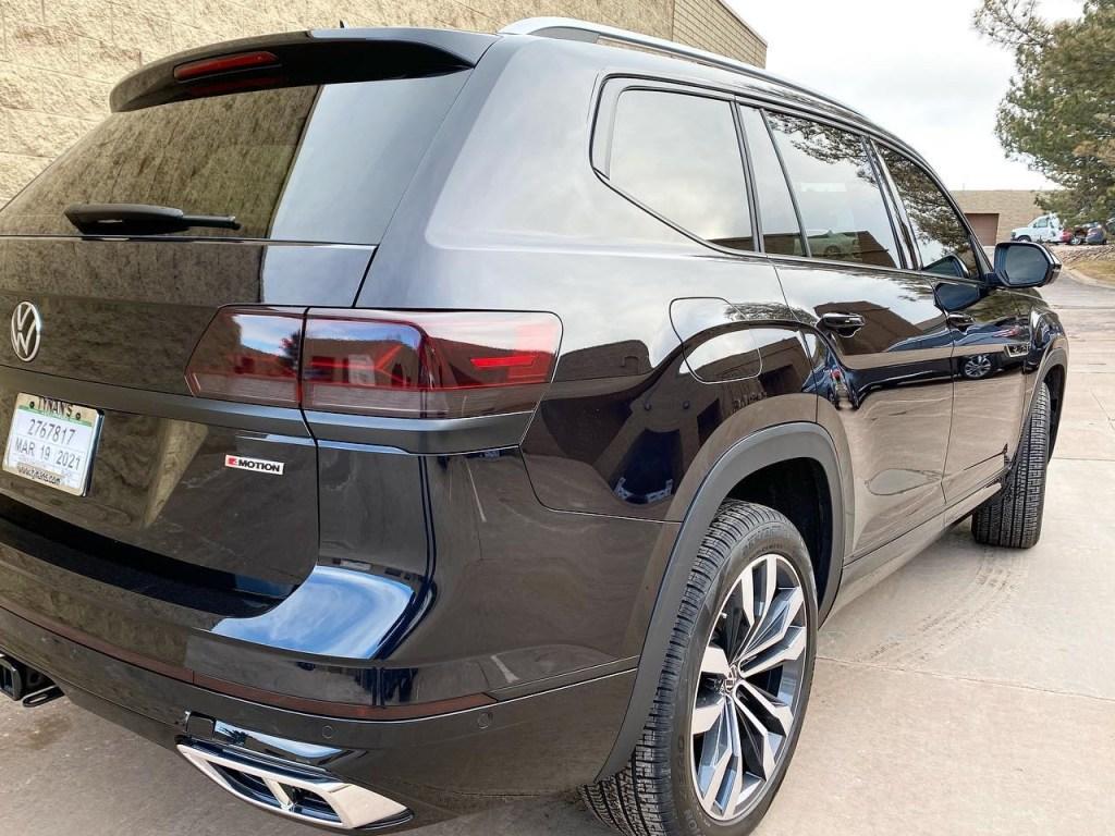 black Volkswagen Atlas window tint back view