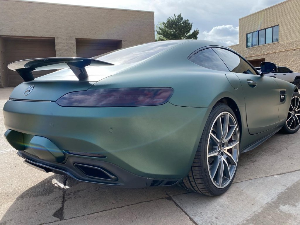 Mercedes AMG GTS tinted windows back view
