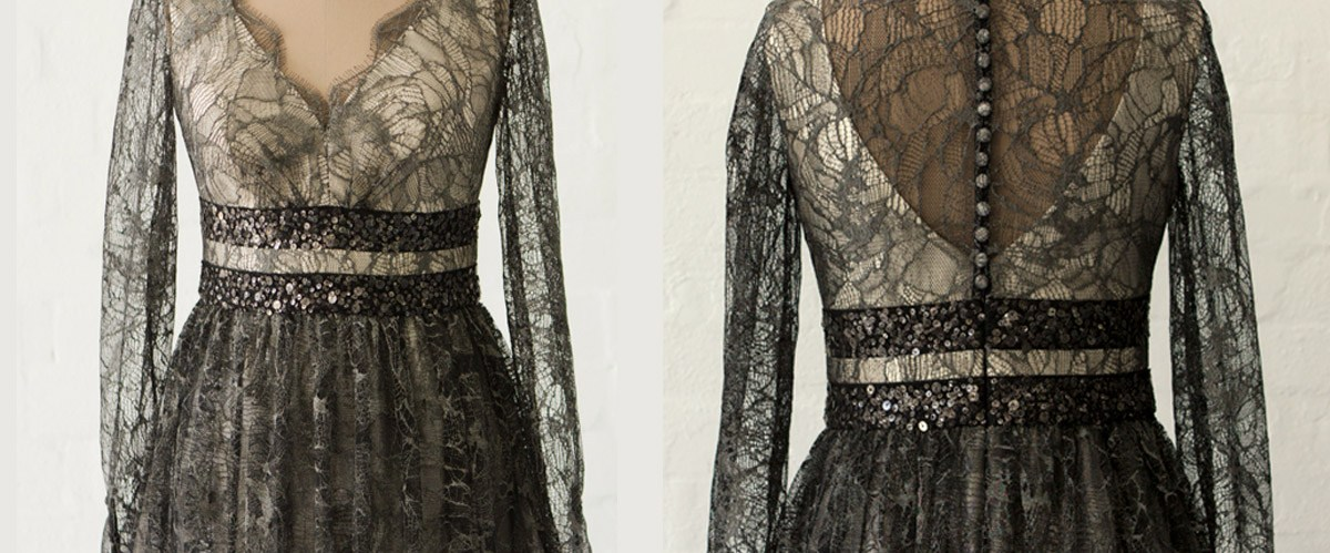 Metallic lace and silk dress