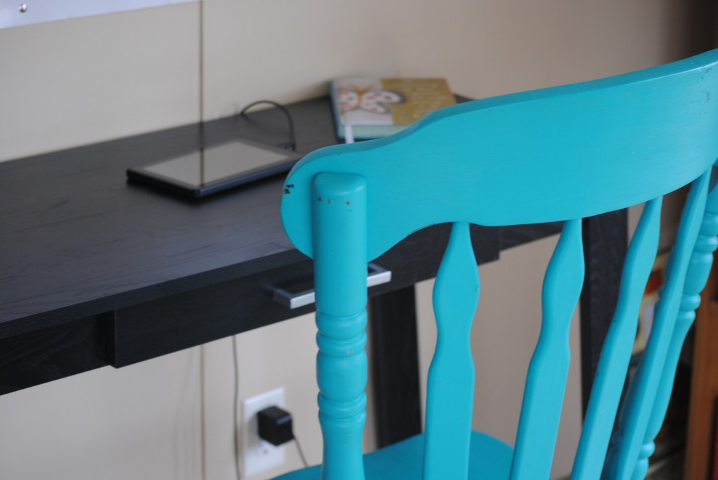turquoise wooden home office chair