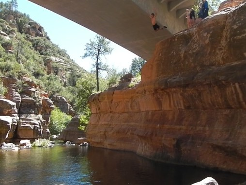 Cliff-jumping at Slide Rock State Park.