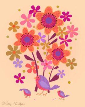 Bird and Chicks peach