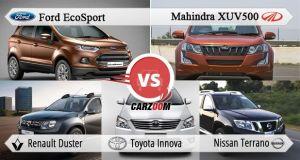 Mahindra XUV500 vs Ford EcoSport vs Renault Duster vs Toyota Innova vs Nissan Terrano
