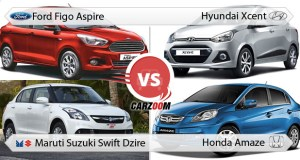 Ford Figo Aspire vs Hyundai Xcent vs Maruti Suzuki Swift Dzire vs Honda Amaze