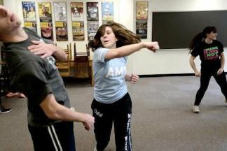 Students in Stage Combat in the Acting Lab