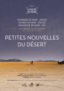 """Théâtre """"Petites Nouvelles du Désert"""" @ Fabrique du Vélodrome    Genève   Genève   Suisse"""