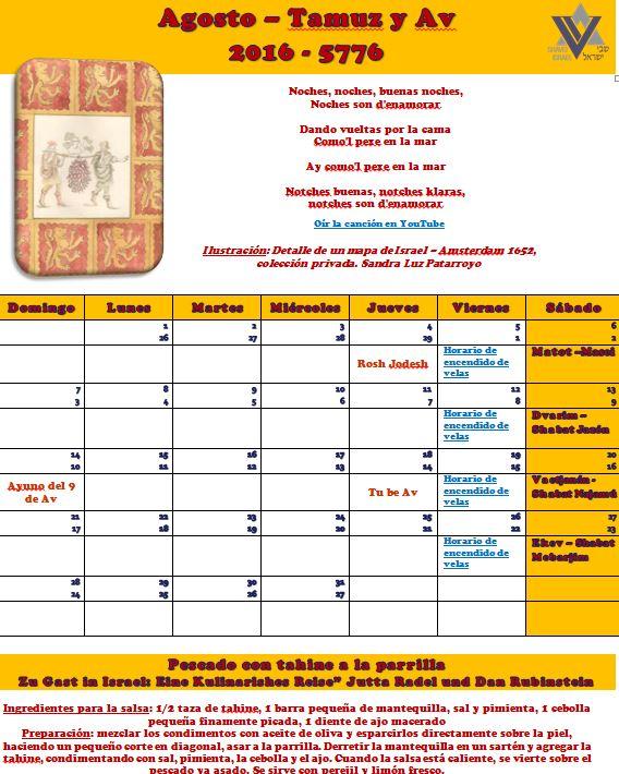 Calendario del mes de agosto