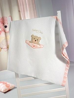 Πικέ Κουβέρτα Κούνιας 110x150 SAINT CLAIR Teddy Rose