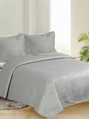 Κουβερλί Υπέρδιπλο Βελούδινο Σετ 220x240 Νταμάκι Light Grey