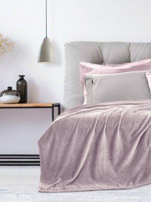 Κουβέρτα Βελούδινη Υπέρδιπλη 220x240 Guy Laroche Rombus Lilac