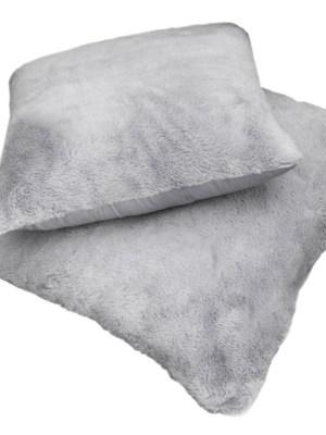 Μαξιλάρι φιγούρας Satin με γούνα Art Fur 45x45 Guy Laroche Crusty Silver