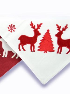 Καρέ Χριστουγεννιάτικο 100x100 με Κέντημα & Pom - Pom E7C032 White