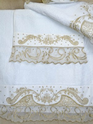 Πετσέτες Λευκές Σετ τριών τεμαχίων 1241 με Κέντημα σε Λευκό Λινό
