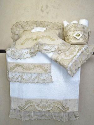 Πετσέτες Λευκές Σετ τριών τεμαχίων 1241 με Κέντημα σε Μπεζ Λινό